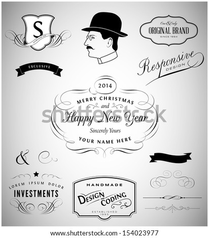 Calligraphic design elements collection - stock vector
