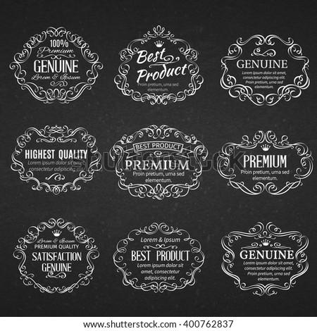 Calligraphic design elements . Decorative  scrolls frames labels in old style.  Vintage vector frame. - stock vector
