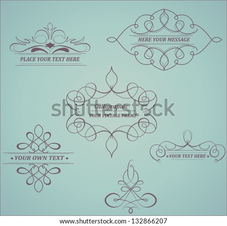 Calligraphic design elements. Elements for page decoration. Frame. - stock vector