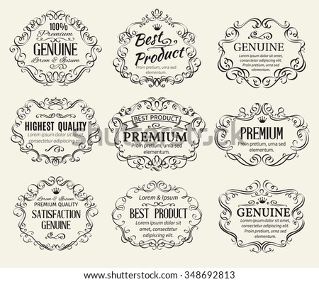 Calligraphic Design Elements Frame and Page Decoration. Retro Vector Illustration. - stock vector
