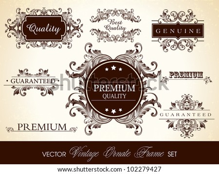 Calligraphic design elements, ornate frame and page decoration, Premium Quality, Guaranteed and Best Quality label, tag or sticker collection. - stock vector