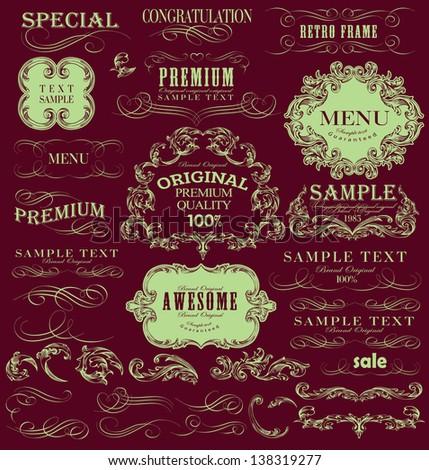 calligraphic design elements, page decoration and label menu, premium quality - stock vector