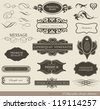 calligraphic design elements, page decoration and label/ vector set - stock vector