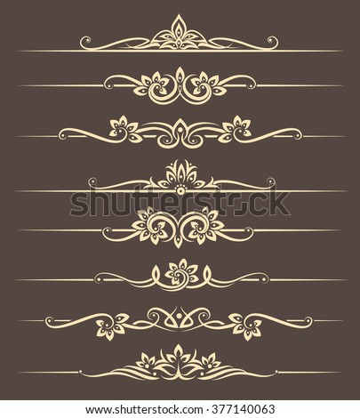 Calligraphic design elements, page dividers with thai ornament. Divider ornament page, ornate vector illustration - stock vector