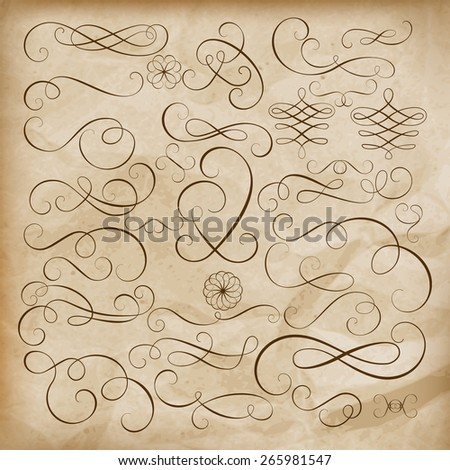 Calligraphic design elements Set, lots of useful elements to embellish your layout. EPS 10 vector file included - stock vector