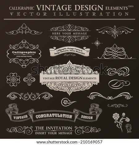 Calligraphic design elements vintage set. Vector ornament frames and scroll ribbon elements - stock vector