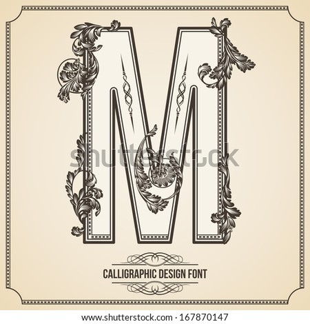 Calligraphic Design Font with Typographic Floral Elements for your Artworks. Nice for Page Decoration. Letter M - stock vector