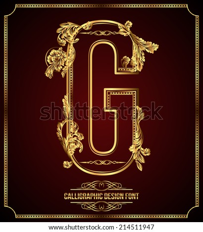 Calligraphic Design Font with Typographic Floral Elements. Premium design elements on dark background. Page Decoration. Retro Vector Gold Letter G - stock vector