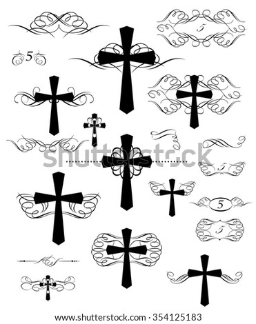Calligraphic design with christian crosses and page rulers - stock vector