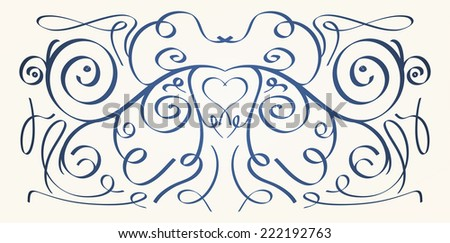 Calligraphic elements vector black on white background - stock vector