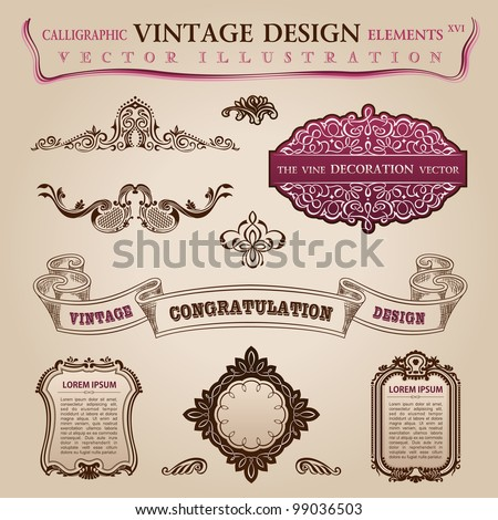 Calligraphic elements vintage labels. Congratulation and page decoration. Vector frame ornament - stock vector