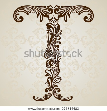 Calligraphic Font. Vintage initials letter T. Vector Design Background. Swirl Style Illustration. - stock vector