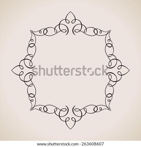 Calligraphic frame and page decoration. Vector background vintage illustration elegant - stock vector