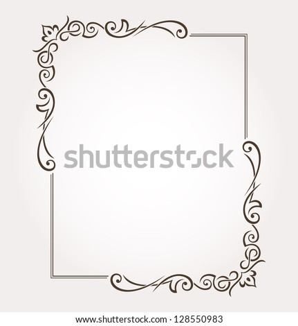 Calligraphic frame and page decoration. Vector illustration - stock vector