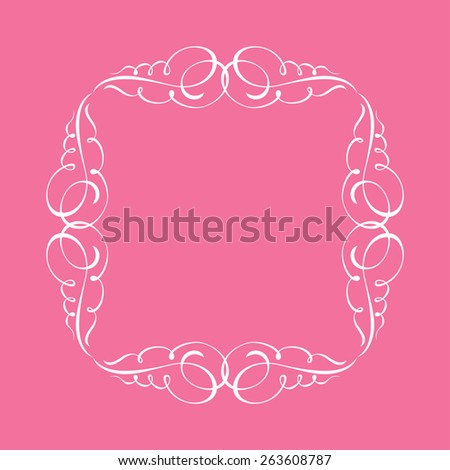 Calligraphic frame and page decoration. Vector illustration white background - stock vector