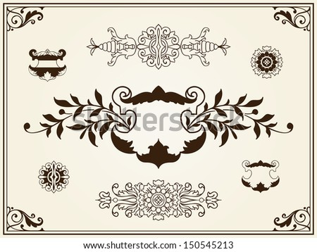 Calligraphic frame design elements white on black - stock vector
