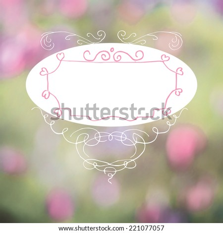 Calligraphic frame template with nature defocused photo as background. With heart shaped elements, useful for wedding and valentine day. - stock vector