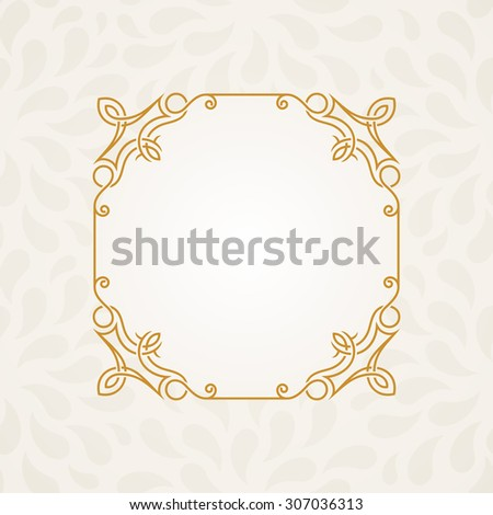 Calligraphic frame. Vector vintage elegant text border and decor background - stock vector