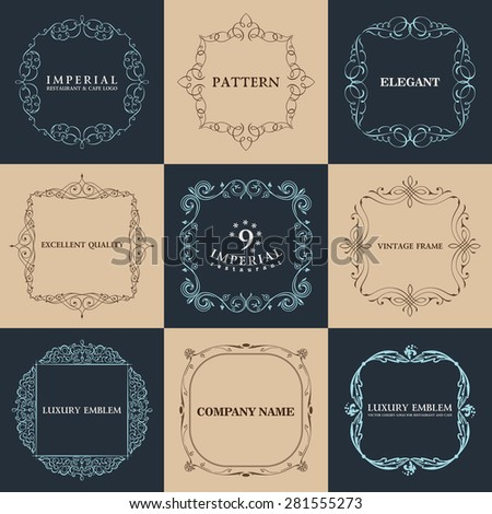 Calligraphic 9 frames set. Vector vintage elegant text border - stock vector