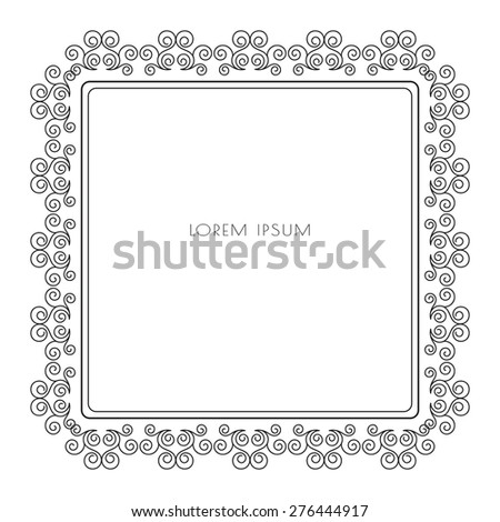 Calligraphic grey frame for border decoration. Stylish design element for your layout. Vector illustration. - stock vector