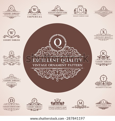 Calligraphic logos set. Vintage template pattern elegant decor elements. Vector ornament Signs and Symbols - stock vector
