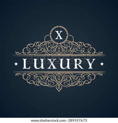 Calligraphic Luxury logo. Emblem ornate decor elements. Vintage vector symbol ornament X - stock vector