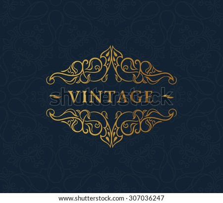 Calligraphic luxury symbol. Emblem ornate decor elements. Vintage vector ornament - stock vector