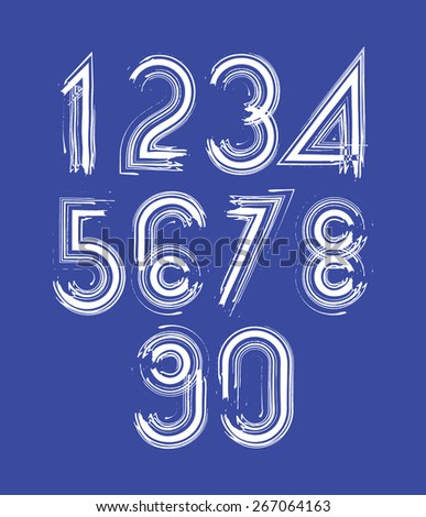 Calligraphic numbers drawn with ink brush, white striped vector numbers collection. - stock vector