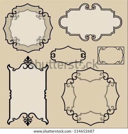 Calligraphic retro frames for page decoration. Vintage Vector Design Ornaments - stock vector