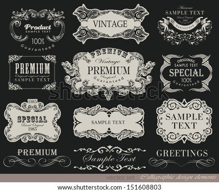 calligraphic typographic design elements and page decoration/ vector set - stock vector