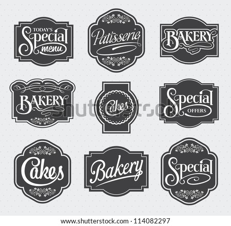 calligraphic vector sign and label design set - stock vector