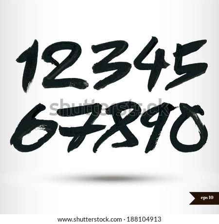 Calligraphic watercolor numbers - stock vector