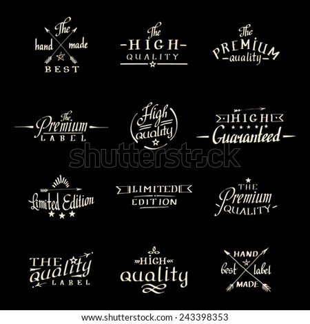 calligraphy and lettering. hand made drawn logos - stock vector