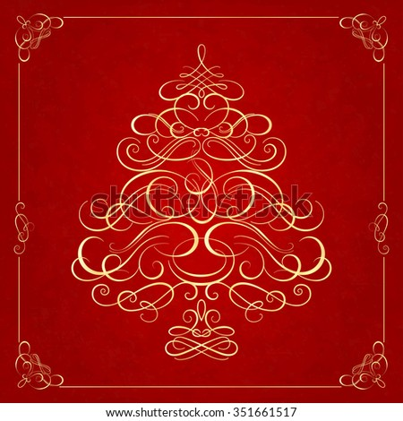 Calligraphy Christmas tree on red background. Vector illustration - stock vector