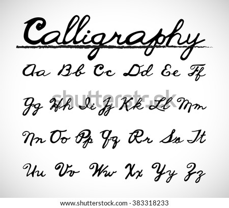 Calligraphy Font Alphabet Set. Vector set with hand written ABC letters. Handmade vector calligraphy. - stock vector
