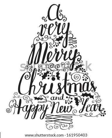 Calligraphy lettering Christmas tree - stock vector