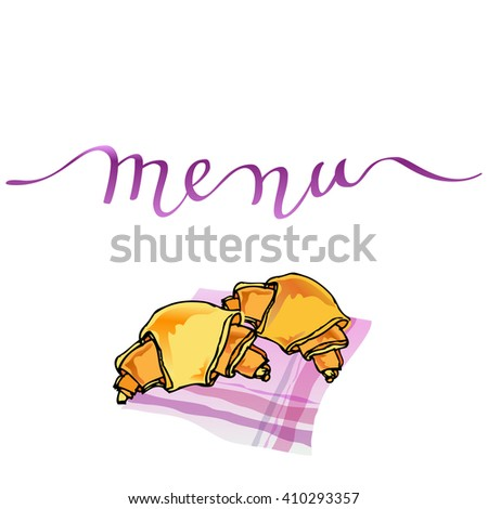 Calligraphy menu card with orange croissants on pink table-napkin. Handwritten calligraphy menu sign for restaurant and cafewedding menu, party, birthday celebration. Vector illustration. - stock vector