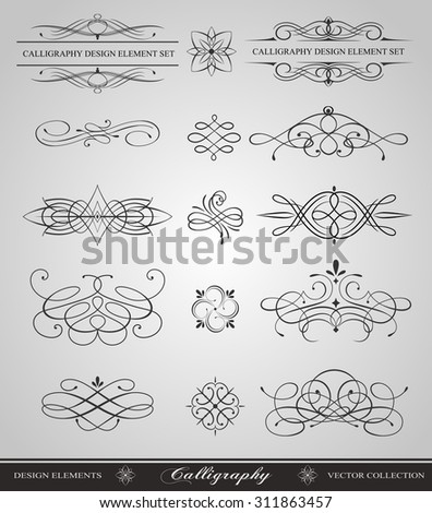 Calligraphy swirls vector design elements - stock vector