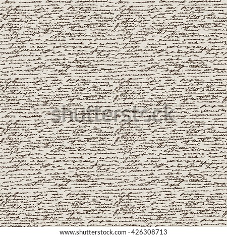 Calligraphy. Vintage hand writing background. Seamless vector text - stock vector