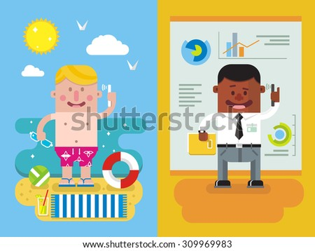 Calling from vacation to work. Man and phone, worker, person, communication, businessman, vocation. Flat vector illustration - stock vector