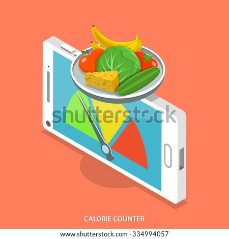 Calorie counter flat isometric vector concept. Smartphone like scales that show food calorie count. - stock vector