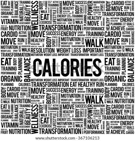 CALORIES word cloud background, health concept - stock vector