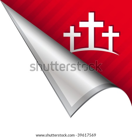 Calvary Christian crosses icon on vector peeled corner tab suitable for use in print, on websites, or in advertising materials. - stock vector