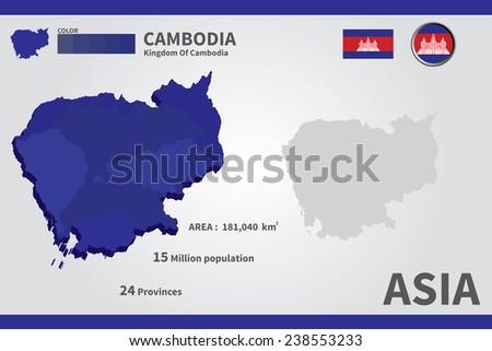 Cambodia. flag. Asia. World Map. vector Illustration. - stock vector