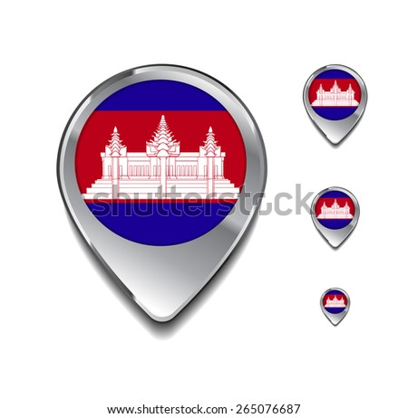 Cambodia flag map pointer. 3d Map Pointer with flag glossy button style on gray background - stock vector