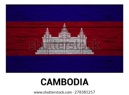 Cambodia flag on wood texture background - vector illustration - stock vector