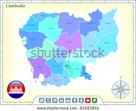 Cambodia Map with Flag Buttons and Assistance & Activates Icons Original Illustration - stock vector