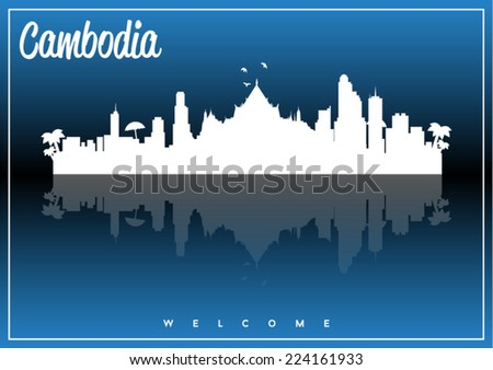 Cambodia, skyline silhouette vector design on parliament blue and black background. - stock vector