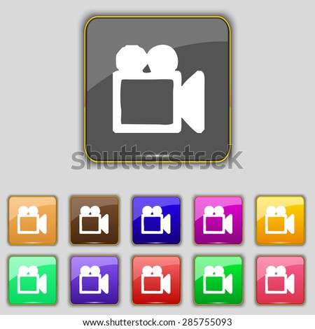 camcorder icon sign. Set with eleven colored buttons for your site. Vector illustration - stock vector