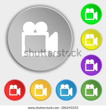 camcorder icon sign. Symbol on five flat buttons. Vector illustration - stock vector